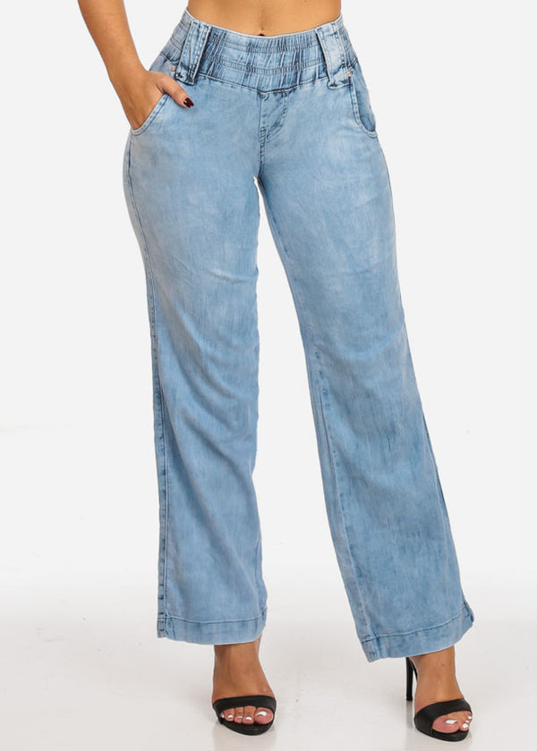 Elastic High Waisted Light Wide Leg Jeans