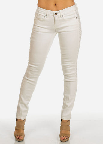Cache Brand One Button White Skinny Pants