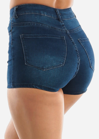 Image of High Waisted Dark Wash Denim Shorts