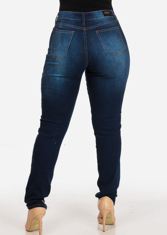 Image of Women's Stylish Curvy Super Stretchy Body Sculpting Plus Size Distressed Dark Wash Skinny Jeans