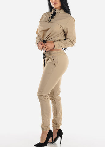 Beige Windbreaker Jacket & Pants (2 PCE SET)