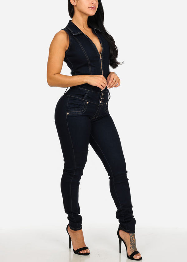 Stylish Dark Wash Butt Lifting Denim Jumpsuit