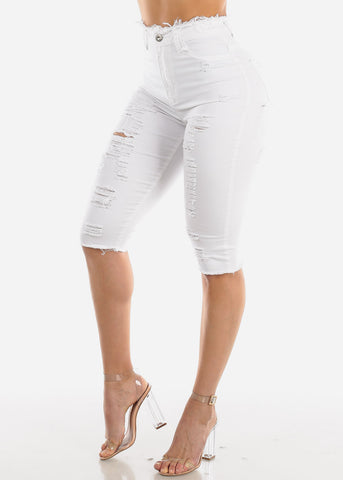 Image of Torn White Denim Capris