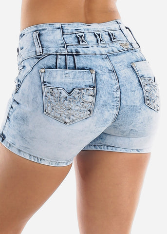 Image of Acid Wash Butt Lifting Denim Shorts