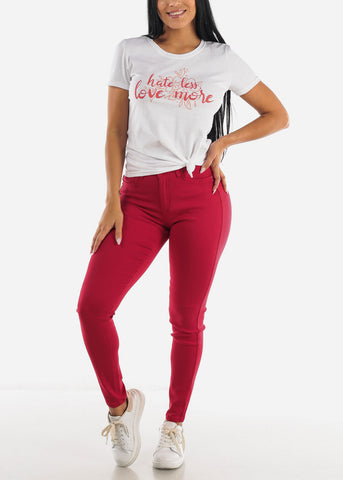 Image of High Waist Butt Lifting Red Jeans