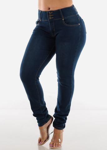 Image of Plus Size High Waisted Butt Lifting Skinny Jeans