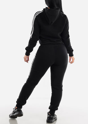 Side Stripe Black Cropped Hoodie & Jogger Sweatpants (2 PCE SET)