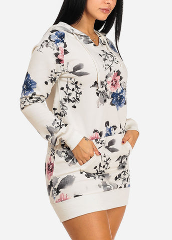 Image of White Floral Dress W Hood