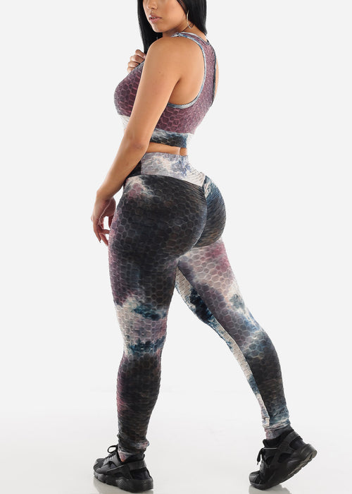 Anti Cellulite Tie Dye Burgundy Sports Bra & Leggings  (2 PCE SET)