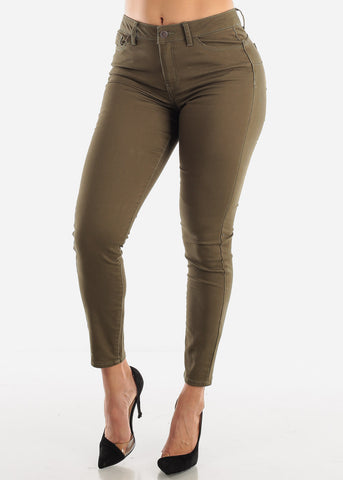 Mid Rise Levanta Cola Olive Skinny Jeans