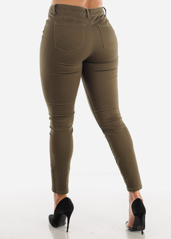 Image of High Rise Levanta Cola Olive Skinny Jeans