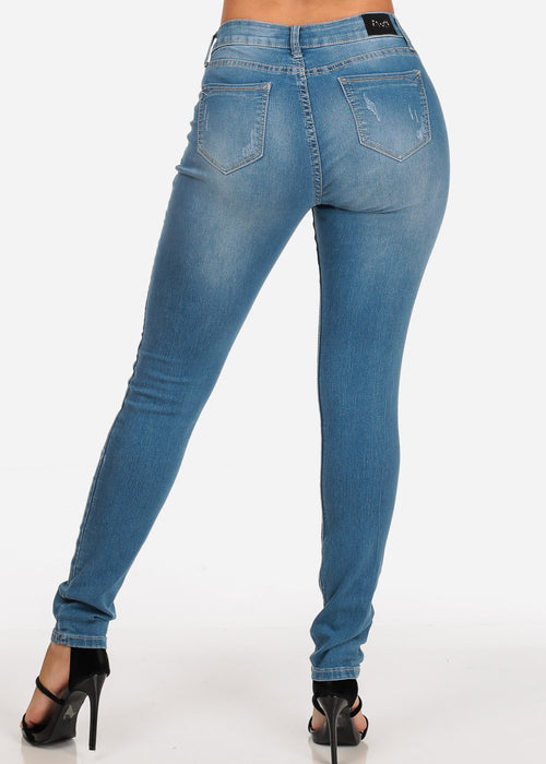Women's Junior Ladies Must Have Casual Stretchy 1 Button Low Rise Distressed Light Wash Skinny Jeans