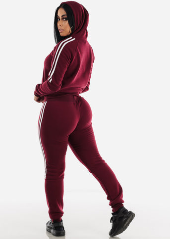 Side Stripe Burgundy Cropped Hoodie & Jogger Sweatpants (2 PCE SET)