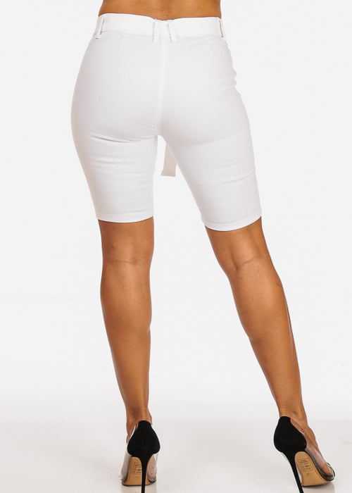 Cute Stylish Mid Rise White Bermuda Shorts