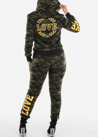 Olive Camo Sweater & Jogger Pants (2 PCE SET)