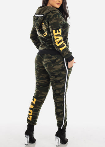 Image of Olive Camo Sweater & Jogger Pants (2 PCE SET)
