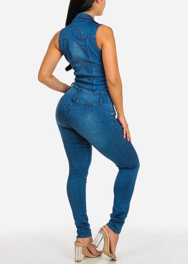 Sexy Slim Fit Butt Lifting Denim Jumpsuit