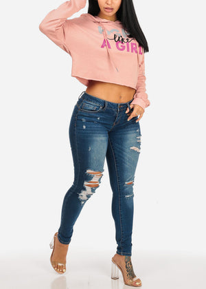 Mid Rise Distressed Butt Lifting Med Skinny Jeans