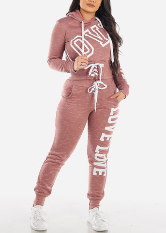 Pink Love Sweater & Jogger Pants (2 PCE SET)