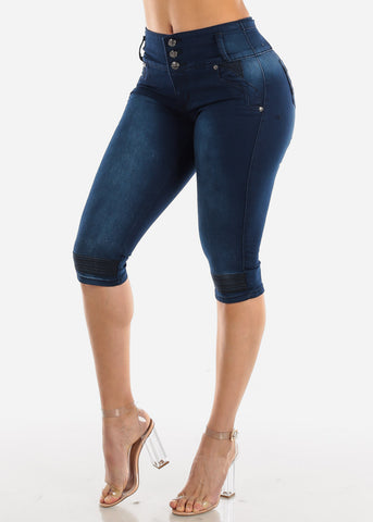 Levanta Cola Dark Wash Denim Capris