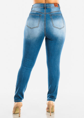 Plus Size Ripped Med Wash Skinny Jeans