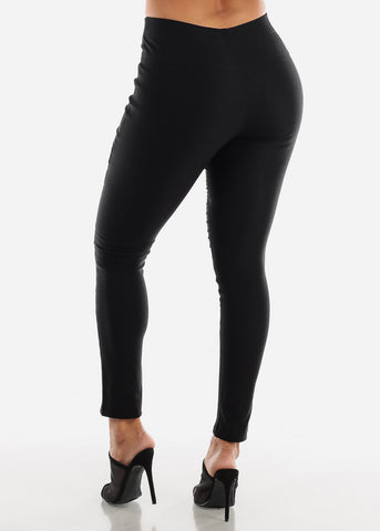 Image of High Waisted Black Moto Skinny Pants