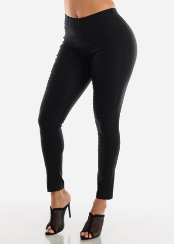 High Waisted Black Moto Skinny Pants