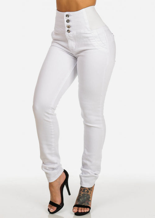 White Butt Lift High Waisted Skinny Jeans