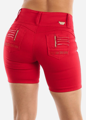 Image of Levanta Cola Red Denim Shorts