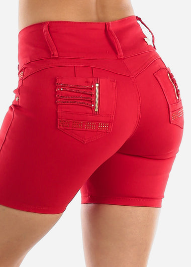 Levanta Cola Red Denim Shorts