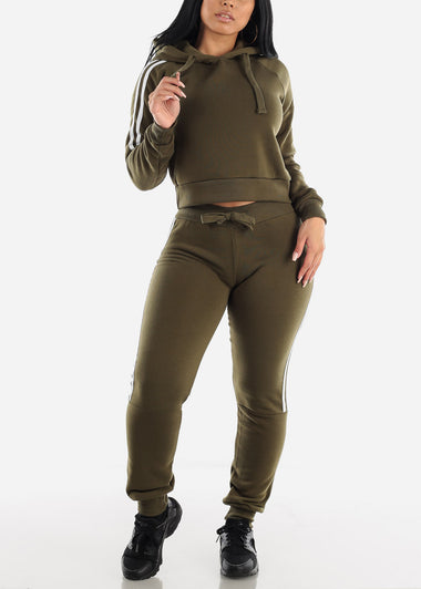 Side Stripe Olive Cropped Hoodie & Jogger Sweatpants (2 PCE SET)