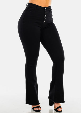 High Waisted Wide Leg Black Jeans