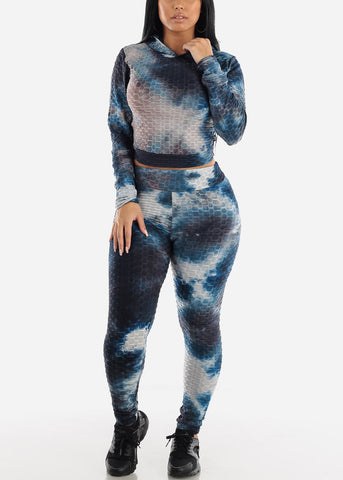 Anti Cellulite Tie Dye Black Hoodie & Leggings  (2 PCE SET)