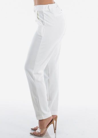 Image of High Waisted Pull On Cute Solid Ivory Straight Leg Dressy Office Career Business Wear Pants For Women Ladies Junior