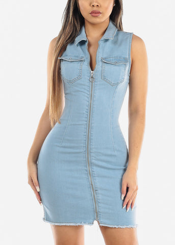 Zip Up Light Wash Denim Mini Dress