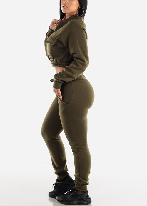 Olive Cropped Jacket & Jogger Pants (2 PCE SET)