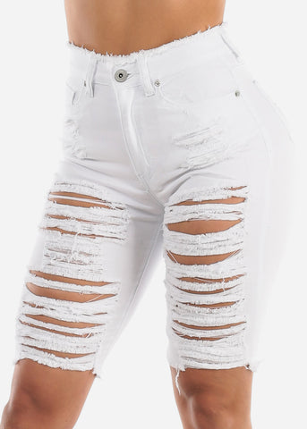 Image of White Distressed Bermuda Shorts