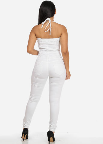 Sexy White Butt Lifting Denim Jumpsuit