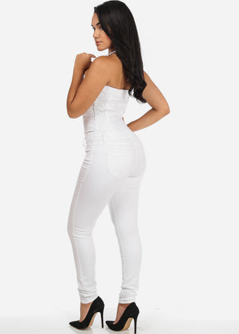 Image of Sexy White Butt Lifting Denim Jumpsuit