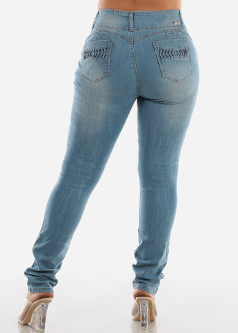 Image of Butt Lifting Light Skinny Jeans SIZES 13-15-17