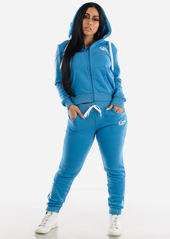 Blue Fleece Full Zip Up Hoodie & Jogger Sweatpants ( 2 PCE SET)