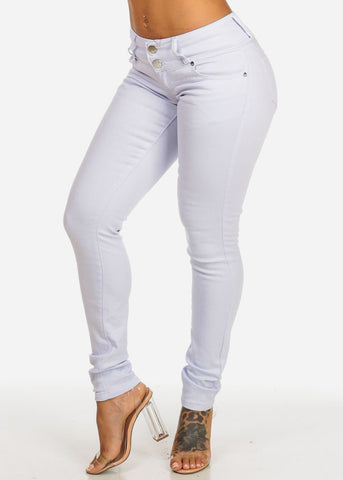 White Mid Rise Skinny Jeans