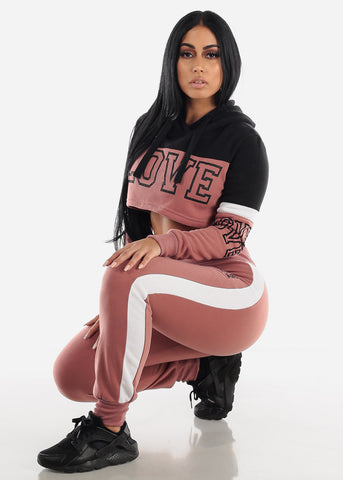 "Brick Cropped Hoodie & Jogger Sweatpants ""Love"" (2 PCE SET)"