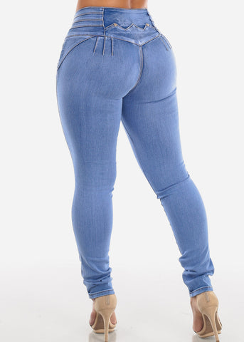 Image of Mid Rise Butt Lifting Ripped Skinny Jeans