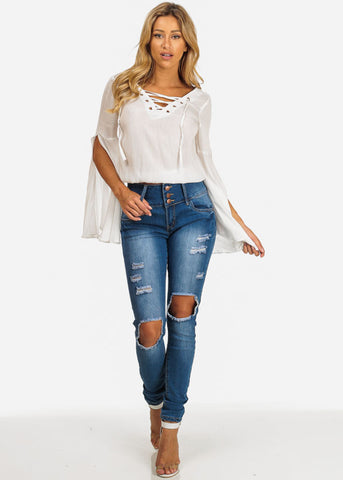 Ripped Levanta Cola Butt Lift High Rise Skinny Jeans