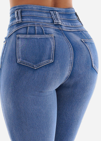 Bleach Wash High Rise Butt Lifting Skinny Jeans