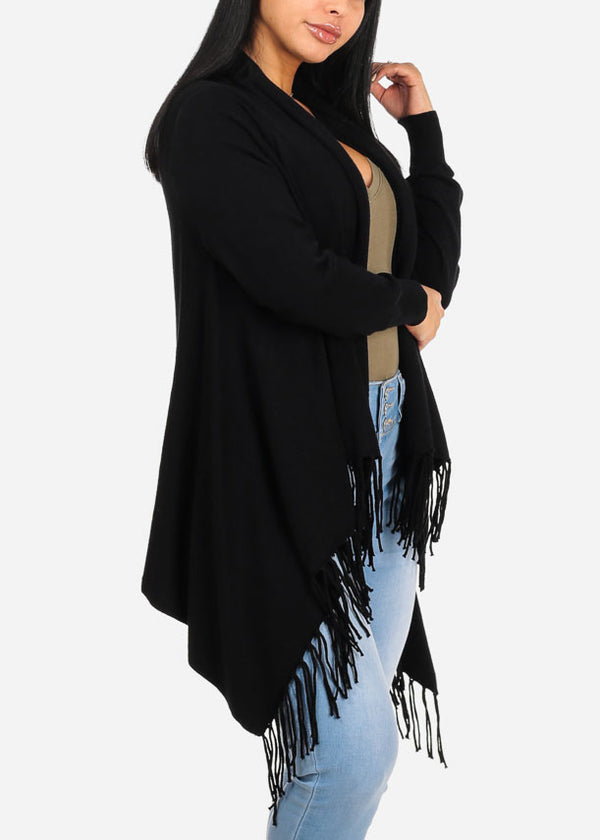 Cozy Wrap Front Black Cardigan