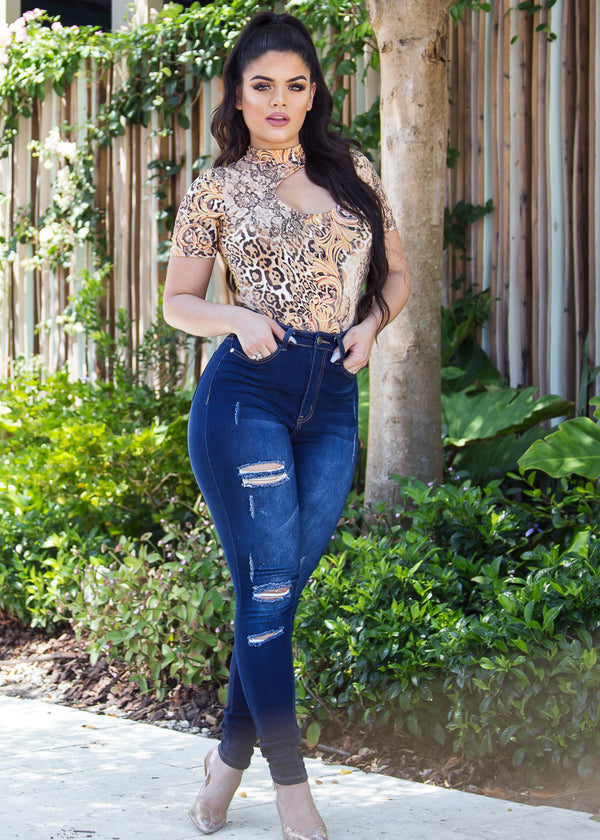 MX Ultra High Waisted Distressed Skinny Jeans