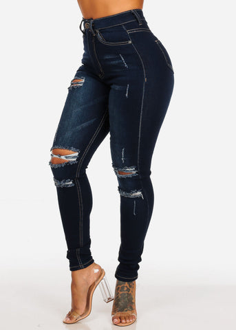 Image of Women's Junior Ladies 1 Button Dark Wash Ultra High Waisted Distressed Skinny Jeans