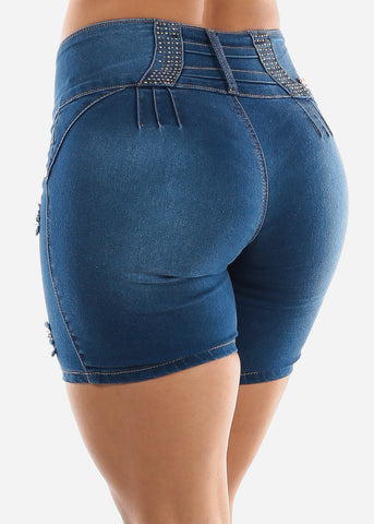 Blue Mid Rise Butt Lifting Shorts